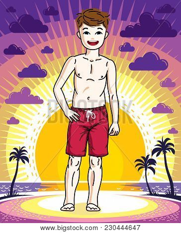 Cute Little Boy Child Standing Wearing Fashionable Beach Shorts. Vector Human Illustration. Fashion