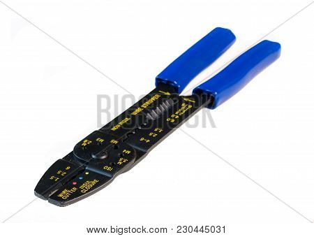 Blue Handled Ferrule Crimping Tool With Wire Stripper And Cutter