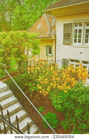 Baden-baden, Germany - April 30, 2012: Inner Yard With The Small Garden Of A House In Baden-baden, B