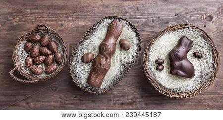 Chocolate Easter Bunny Inside A Basket