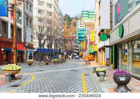 Street In The City Center Of Busan In The Morning, South Korea