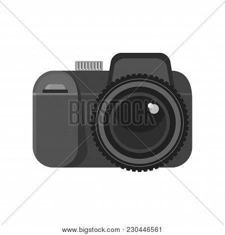 Photo Camera Icon. Flat Vector Cartoon Illustration. Objects Isolated On White Background.