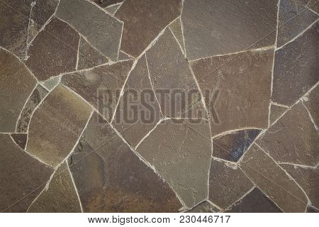 Stone Background, Pattern, Texture Of Stones Of Different Geometric Shapes.