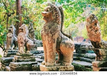Carved Statues In Banteay Kdei Temple Complex, Siem Reap, Cambodia.