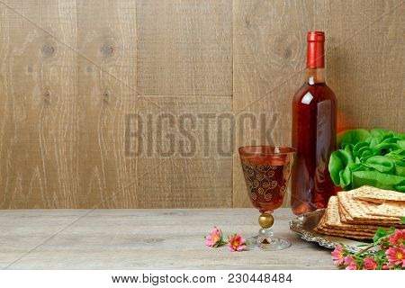 Jewish Holiday Passover Background With Wine, Matzo And Seder Plate