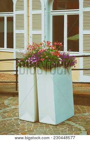 Flowerbed In The City Center Of Baden-baden In Baden-wurttemberg, In Germany. Baden Baden Is A Spa T