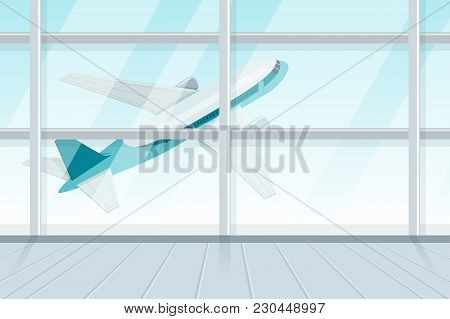 View Out Of Airport Terminal Window On Takeoff Airplane. Flying Jet Plane, Vector 3D Isometric Sytle