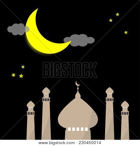 Ramadan Kareem Eid Template Background With Copy Space With Icon Mosque, Moon, And Star As Symbolic