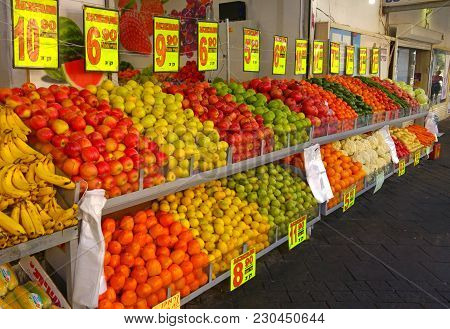 Fresh Fruits And Vegetables Sold At The Street Market In Israel