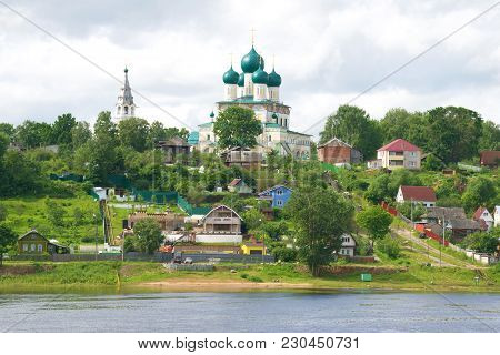 View Of The Resurrection Cathedral On A Cloudy July Day. Tutaev, Yaroslavl Region, Russia