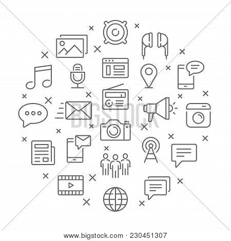 Collection Of Social Media Thin Line Icons. Vector Eps 8