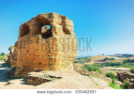 Stone Necropolis At The Valley Of Temples, Agrigento, Sicily, Italy