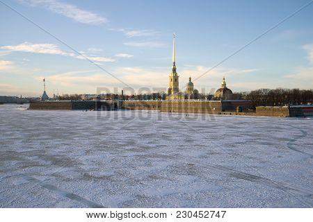 Peter And Paul Fortress In The January Twilight. Saint-petersburg, Russia