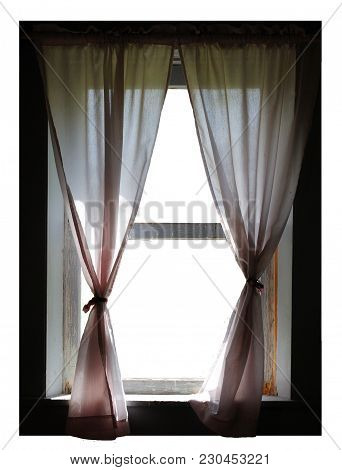 A Window With Curtains On An Isolated White Background Or Png File.