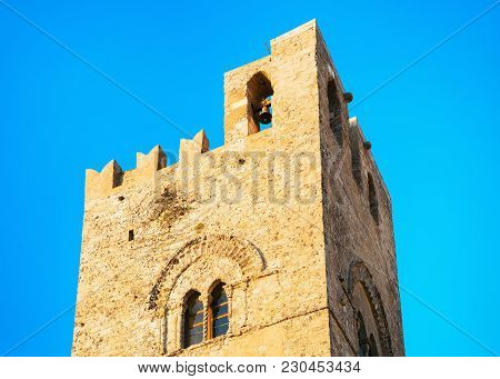 Tower Of Main Church Chiesa Madre At Erice, Sicily Island, Italy
