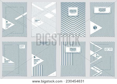 Modern Minimal Template Brochures, Leaflets, Posters. Vector Geometric Patterns Abstract Backgrounds