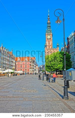 Gdansk, Poland - May 8, 2014: Main City Hall And Dlugi Targ Square In The Old City Center Of Gdansk,
