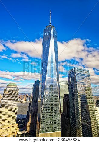 New York, Usa - April 24, 2015: World Trade Center And Freedom Tower In Financial Center In Lower Ma