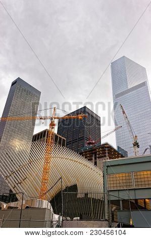 New York, Usa - April 24, 2015: Part Of Wing At Wtc Transportation Hub And Skyscrapers Of Financial
