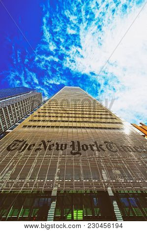 New York, Usa - April 25, 2015: The New York Times Daily Newspaper Skyscraper In Midtown Manhattan I