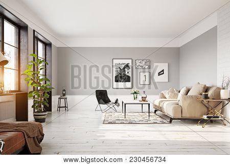 modern living room interior. 3d rendering concept