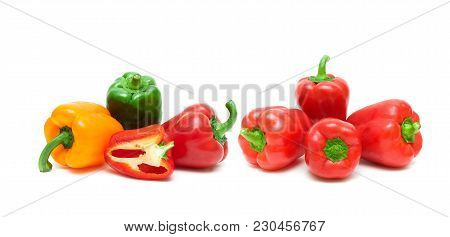 Sweet Bell Pepper On A White Background. Horizontal Photo.