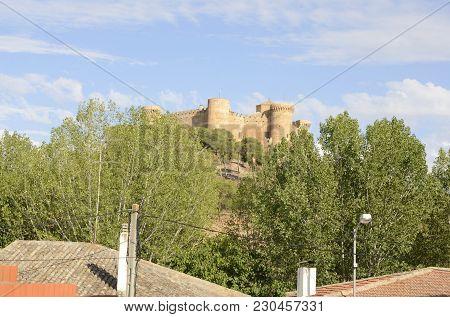Belmonte, Spain -july 29, 2017: Sight Of The Castle From Street Of Belmonte Village, Province Of Cue