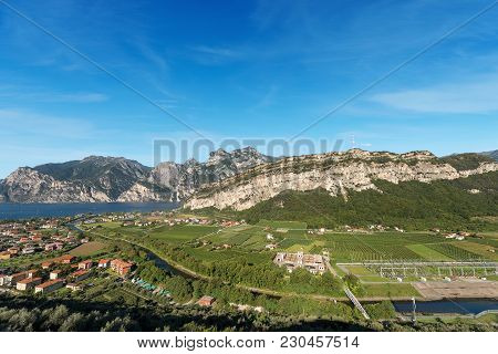 The Lake Garda (lago Di Garda Or Benaco) Of Glacial Origin, Sarca River And Torbole, Small Town In T