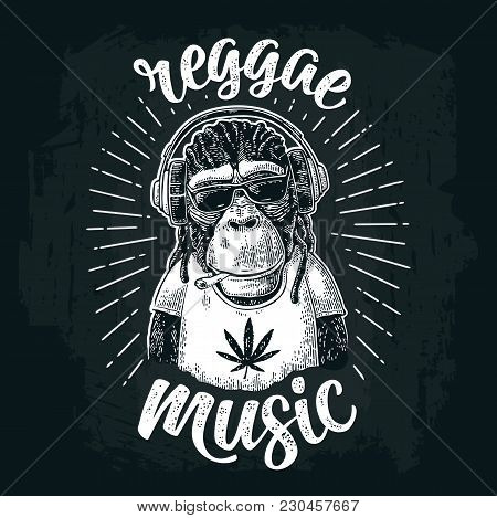 Monkey hipster with dreadlocks in headphones, sunglasses and t-shirt with marijuana leaf. Reggae music calligraphic lettering. Vintage black engraving illustration for poster on dark background poster