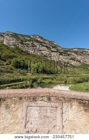 Ancient Roman Bridge Over The River Sarca (fiume Sarca), Ceniga, Dro, Trentino Alto Adige, Italy, Eu
