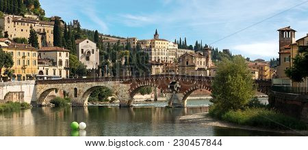 Ponte Pietra (stone Bridge) - 1st Century B.c. - The Oldest Roman Monument In Verona (unesco World H