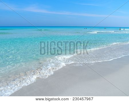 Sandy Beach At Caribbean Sea In Varadero City In Cuba With Clear Water On Seaside Landscapes And Exo
