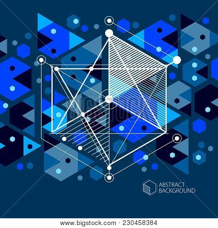 Engineering Technological Dark Blue Vector 3d Backdrop Made With Cubes And Lines. Illustration Of En
