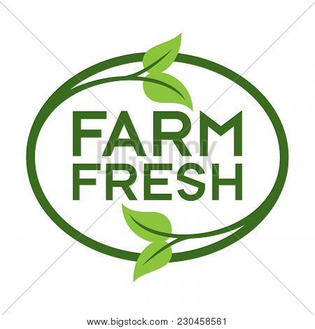Farm Fresh Logo. Graphic Oval Typographic Icon. Fully Editable Vector Illustration For Web, Print An