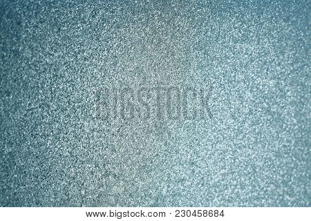 A Glass Window Covered With Hoar Frost In Winter In The House