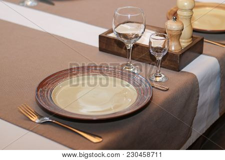 Served Table In A Cafe Or Restaurant Close-up