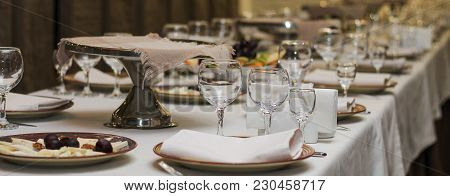 Served Table In A Cafe Or Restaurant For A Holiday