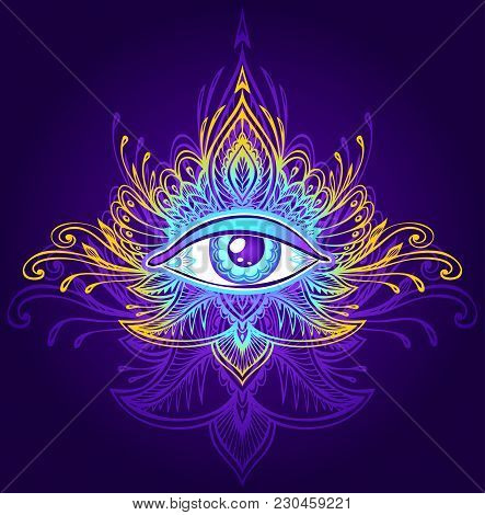 Abstract symbol of All-seeing Eye in Boho Indian Asian Ethno  style blue lilac gold on dark for decoration T-shirt. Concept magic occultism esoterics