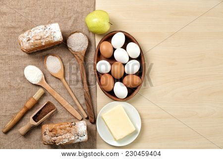Set of kitchenware and products on wooden background. Cooking master classes