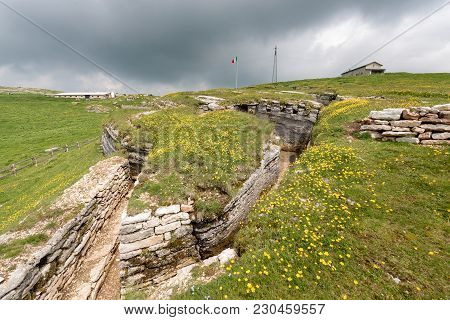 Ancient Natural Trenches Of The First World War. Regional Natural Park Of The Plateau Of Lessinia, V