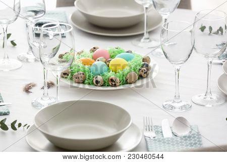 Beautiful festive Easter table setting
