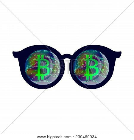 Bitcoin Sign, Virtual Reality Glasses, Cryptocurrency, Cloud Mining, Internet Money, Cryptocurrency