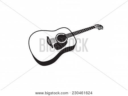 Vector Black And White Image Of An Acoustic Guitar