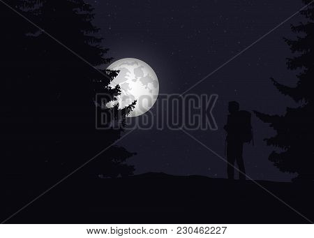 A Tourist With A Backpack On A Walk In A Forest Under A Night Sky With Stars And A Moon - Vector