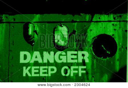 Danger warning in style of night vision goggles poster