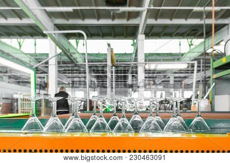 Glass Producing At Factory Stemware In A Row