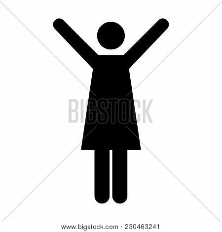 Woman Icon Vector Female Symbol Of Business Person Sign With Raised Hands Action In Glyph Pictogram