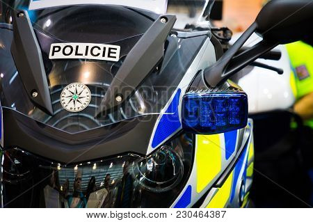 Prague, Czech Republic - 09.03.2018: Part Of Police Motorcycle On Motorcycle Exhebition In Brno, Cze