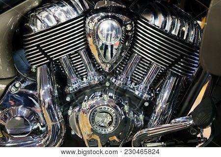 Prague, Czech Republic - 09.03.2018: Part Of Motorcycle On Motorcycle Exhebition In Brno, Czech Repu