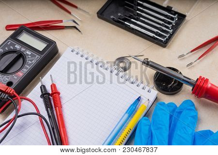 Multimeter, Soldering Tool And Hand Tools For Electronics Assembly.